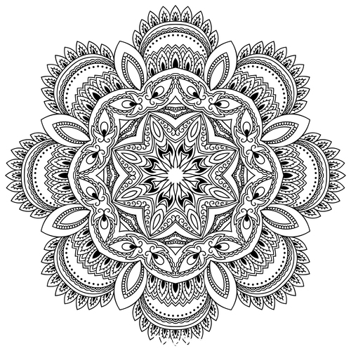 Cascading endless mandala flower tattoo vector