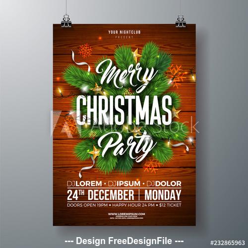 Celebrate christmas poster template design vector