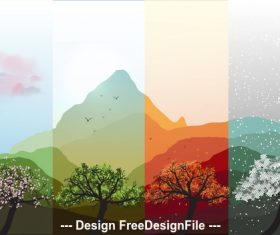 Charming four season banner vector