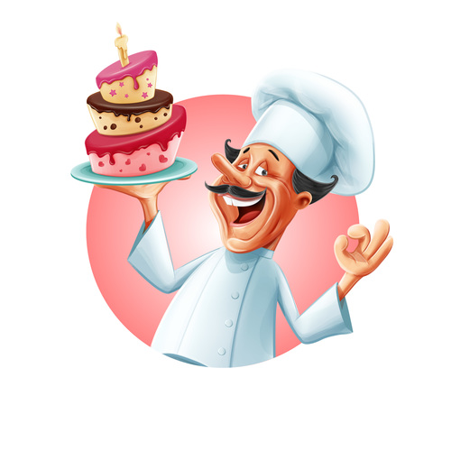 Chef holding a birthday cake vector