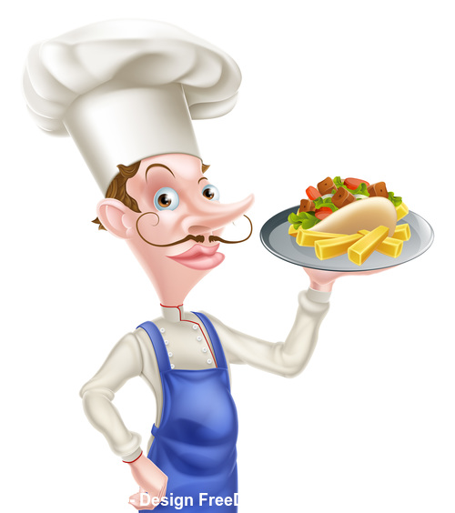 Chef kebab and chips vector