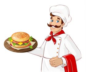 Chef making burger vector