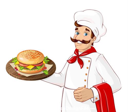 Chef making burger vector