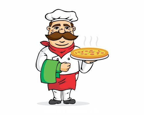Chef making pizza vector