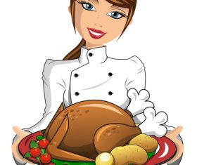 Chef making thanksgiving turkey vector
