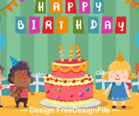 Children birthday party cartoon Illustration vector