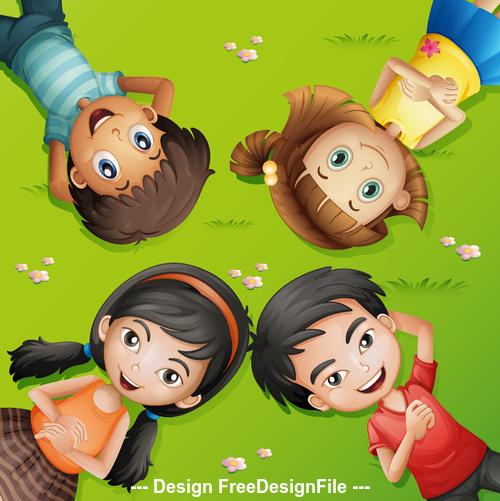 Children lying on the grass vector