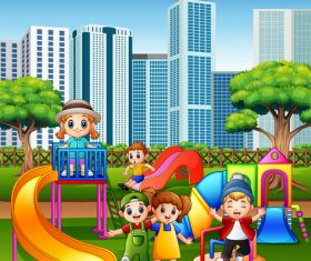Children playing together vector