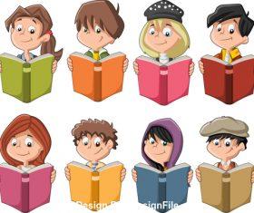 Children reading books vector