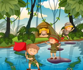 Childrens summer camp vector