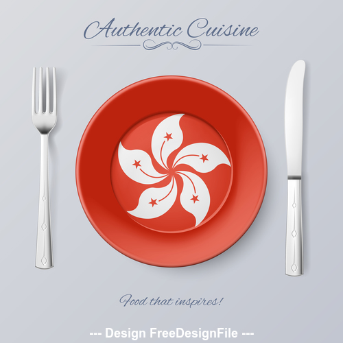 China Hong Kong authentic cuisine and flag circ icon vector