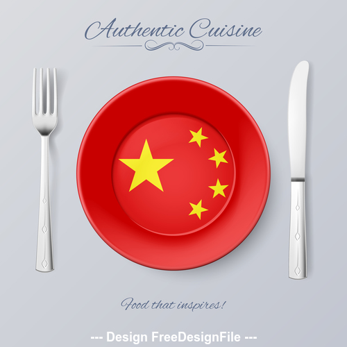 China authentic cuisine and flag circ icon vector