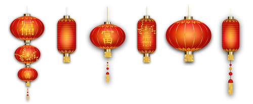 Chinese new year red lantern vector