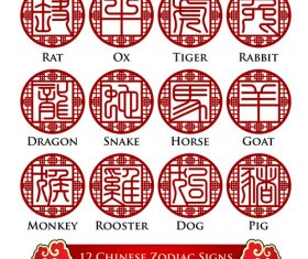 Chinese zodiac signs openwork font design vector