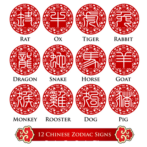 Chinese zodiac signs seal character design vector