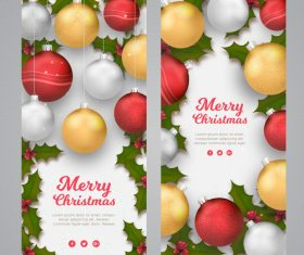 Christmas ball decoration card vector