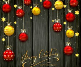 Christmas balls and stars on black wooden background vector