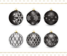 Christmas black decorative balls vector