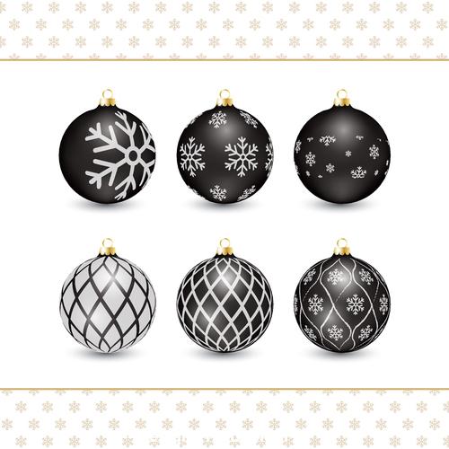 Christmas black decorative balls vector