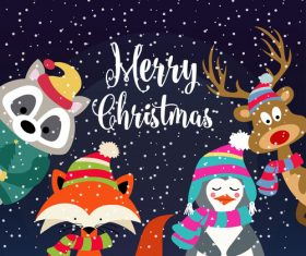 Christmas cartoon animal background card vector
