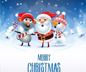 Christmas cartoon greeting card vector