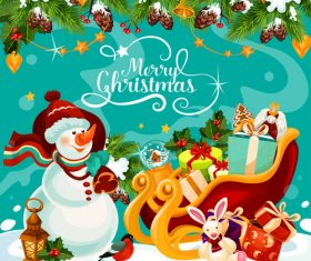 Christmas cute snowman and gift background cartoon vector