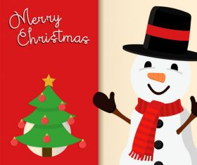 Christmas cute snowman cartoon vector