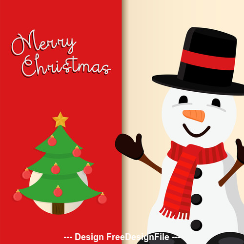 Christmas cute snowman cartoon vector