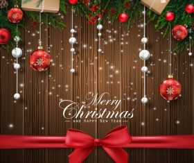 Christmas decoration element card vector