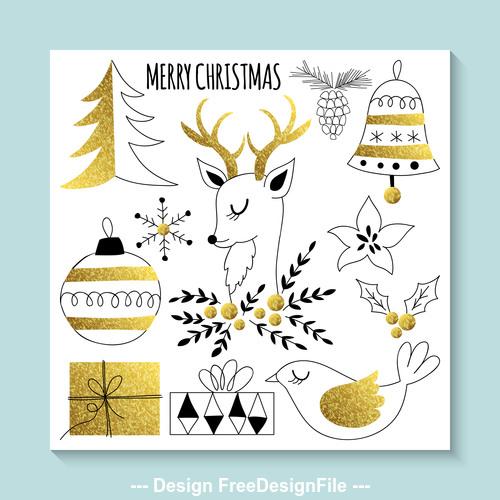 Christmas element design vector