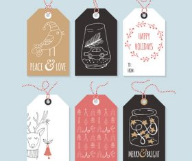 Christmas element hand drawing tag design vector