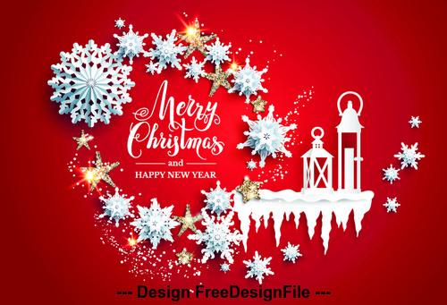 Christmas element paper cut art vector