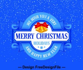 Christmas elements blue label background vector
