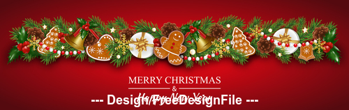 Christmas elements decorative card vector