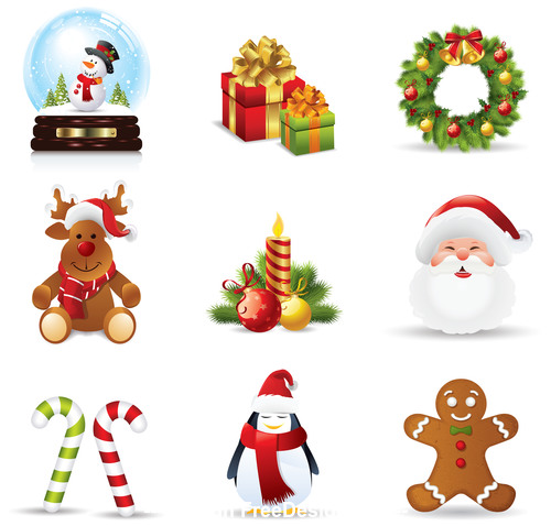 Christmas elements icons vector