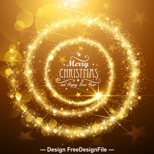 Christmas flickering lights card vector