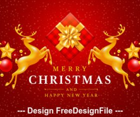 Christmas gift and flying gold deer christmas new year card vector