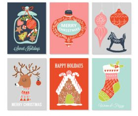 Christmas gift tags design with flat modern icons vector