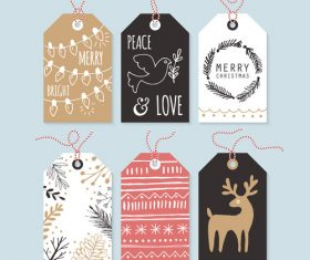 Christmas hand drawing gift tag element design vector