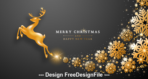 Christmas happy new year template vector