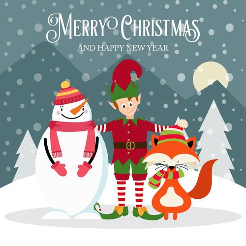 Christmas holiday cartoon illustration vector