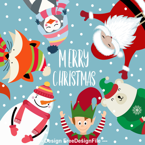 Christmas holiday santa celebration gift cartoon illustration vector