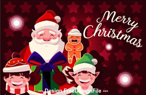 Christmas illustration santa claus and children vector