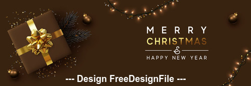 Christmas lantern and gift box decoration banner vector