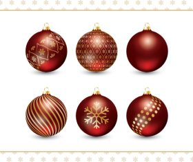 Christmas red decorative balls vector