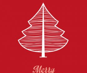 Christmas tree greeting card vector