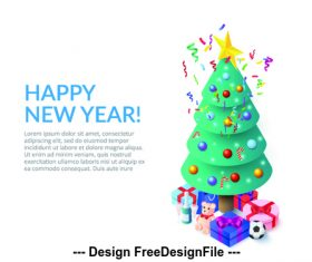 Christmas tree ornaments 3D concept illustration vector