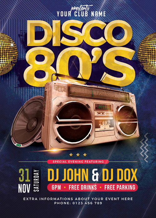 Classic Disco Party Flyer PSD Template