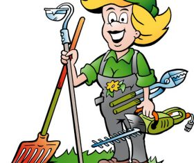 Cleaner gardener lady vector