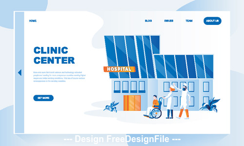 Clinic center flat isometric vector concept illustration